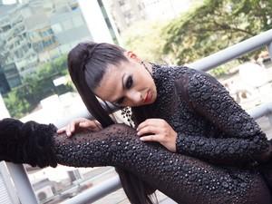 Making of: ensaio com Aline Oliveira, musa da escola de samba Mocidade Alegre, para o Carnaval de 2014, no terraço do Conjunto Nacional, na Avenida Paulista (Foto: Fábio Tito/G1)