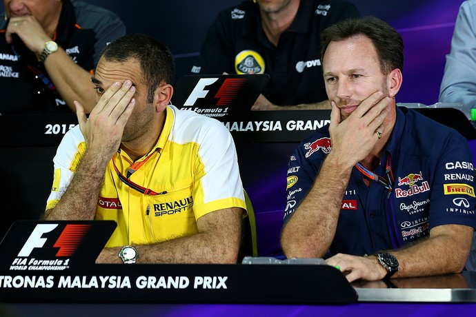 Cyril Abiteboul, da Renault, e Christian Horner (RBR) (Foto: Getty Images)