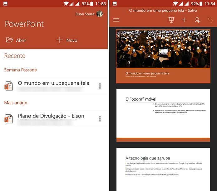Abra a apresentação da qual deseja compartilhar slides no PowerPoint para Android (Foto: Reprodução/Elson de Souza)