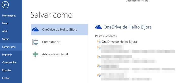 Salvando arquivo do Word no OneDrive (Foto: Reprodução/Helito Bijora)