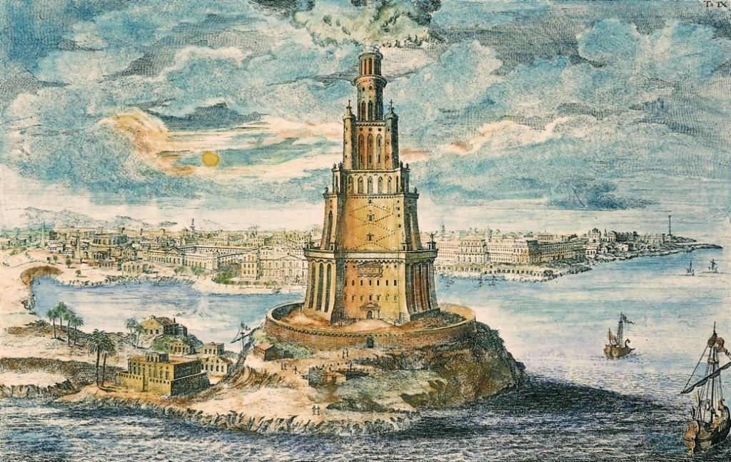 Gravura de Fischer von Erlach (1656-1723) retrata o Farol de Alexandria em todo o seu esplendor (Foto: Wikimedia Commons)
