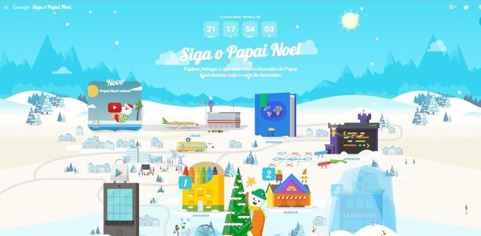 Siga o Papai Noel surge com novas funcionalidades, como jogos e desenhos para colorir (Foto: Reprodução/Google)