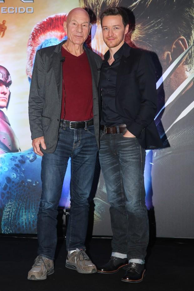 Patrick Stewart e James McAvoy (Foto: Manuela Scarpa/Photo Rio News)