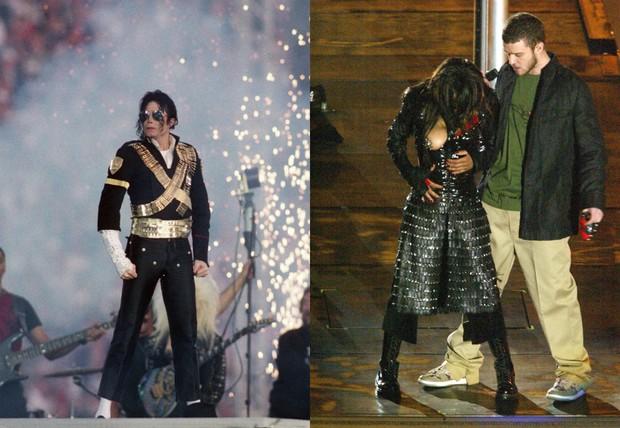 Michael Jackson no Super Bowl 1993 e Janet Jackson com Justin Timberlake em 2004 (Foto: Steve Granitz / Contributor / Getty Images | Jeff Kravitz / Contributor / Getty Images)