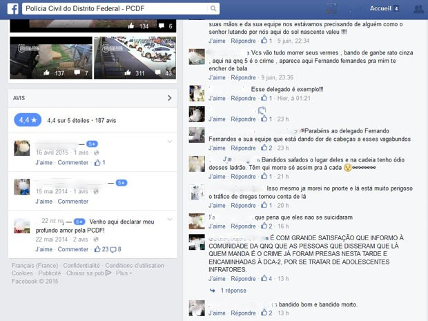 Publicação em rede social com ameaça de morte a delegado do DF (Foto: Facebook/Reprodução)
