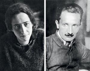 FILÓSOFOS E AMANTES Hannah Arendt (acima, na juventude) foi aluna e amante de Martin Heidegger (à dir.). Depois da guerra, quando foi revelado o envolvimento dele com o nazismo,  ela o perdoou (Foto: Getty Images)