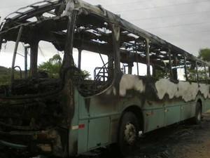 Ônibus foi incendiado por volta das 16h20 em Blumenau (Foto: Fabio Bublitz/RBS TV)