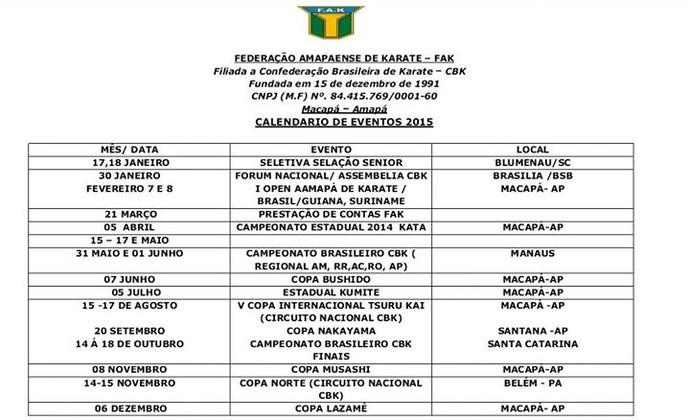 Federação do AP de Karatê divulga calendário de competições para 2015 (Foto: Divulgação/FAK)