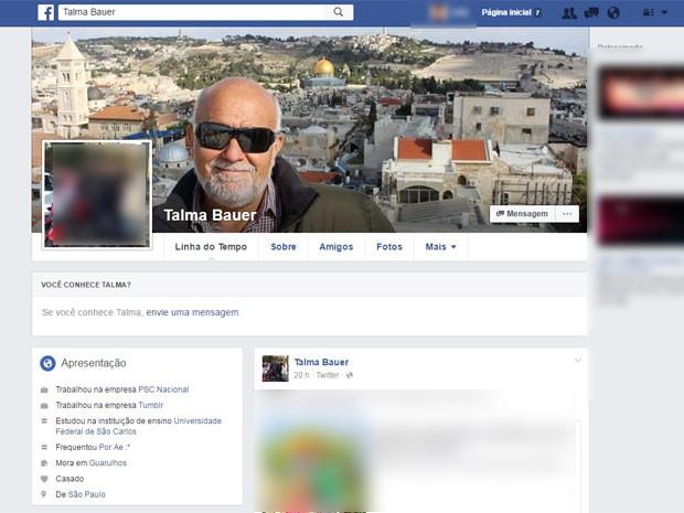 Perfil de Talma Bauer, chefe de gabinete do deputado Marco Feliciano, do PSC (Foto: Reprodução/Facebook)