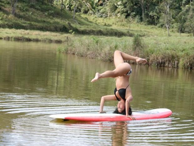 Stand up paddle combinado com yoga? Disposição!!! (Foto: Arquivo Pessoal)