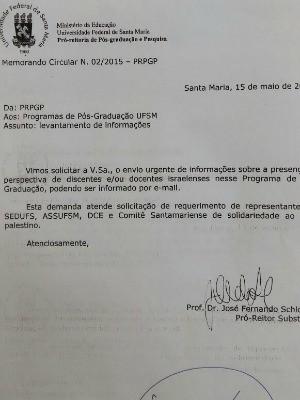 Ofício da UFSM foi assinado em 15 de maio (Foto: Reprodução)