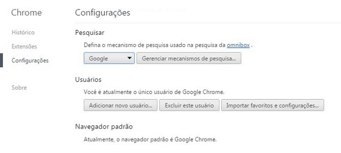 Google definido como mecanismo de pesquisa padrão (Foto: Reprodução/Raquel Freire)