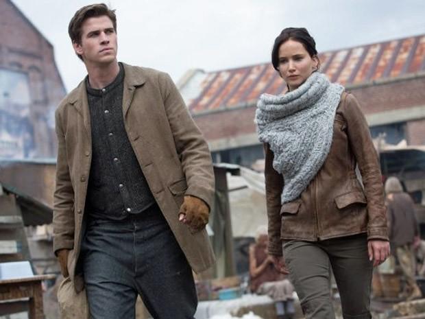Liam Hemsworth e Jennifer Lawrence em 'Jogos vorazes: Em chamas' (Foto: Divulgação)