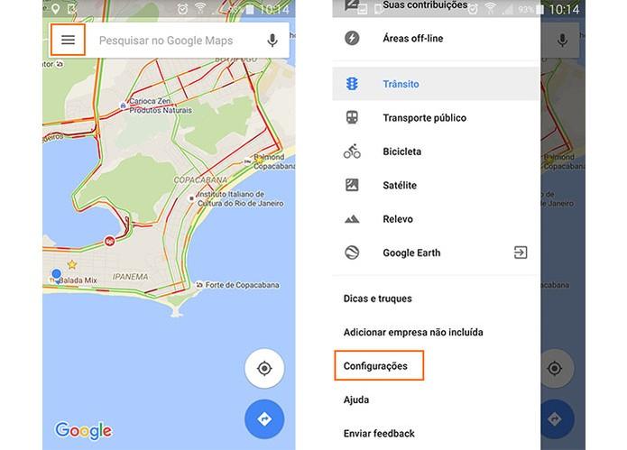 Acesse o menu de configurações no Google Maps pelo Android (Foto: Reprodução/Barbara Mannara)