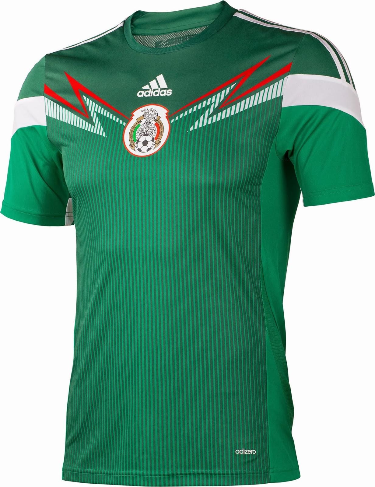 Adidas - México (Foto  divulgação). Já o segundo uniforme ... 1ca22248d23ee