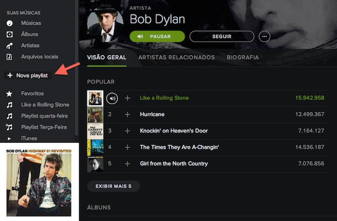 Criando uma playlist no Spotify (Foto: Reprodução/Marvin Costa)