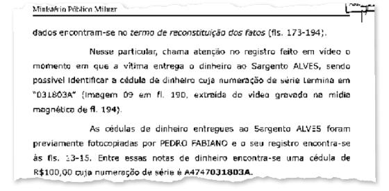 Trecho de inquérito do Ministério Público Militar. O sargento perdeu o emprego e a patente (Foto: Reprodução )