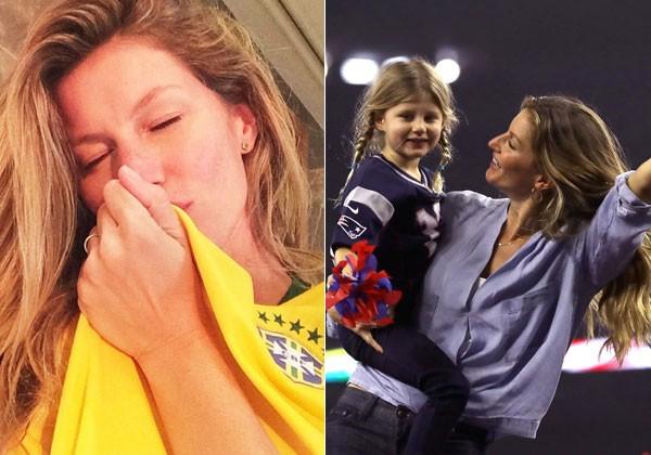 Gisele torcendo pelo Brasil na última Copa e com a filha Vivian Lake no Superbowl torcendo para Tom  Brady (Foto: Reprodução/Instagram/Getty Images)