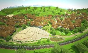 Cenário de 'O Senhor dos Aneis' recriado em 'Minecraft' (Foto: Divulgação/MCME)