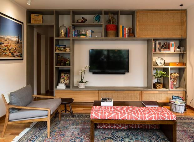 Madeira e concreto na decoração de casa