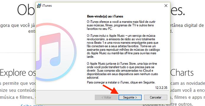Prosseguindo a instalação do iTunes em um computador com Windows (Foto: Reprodução/Marvin Costa)