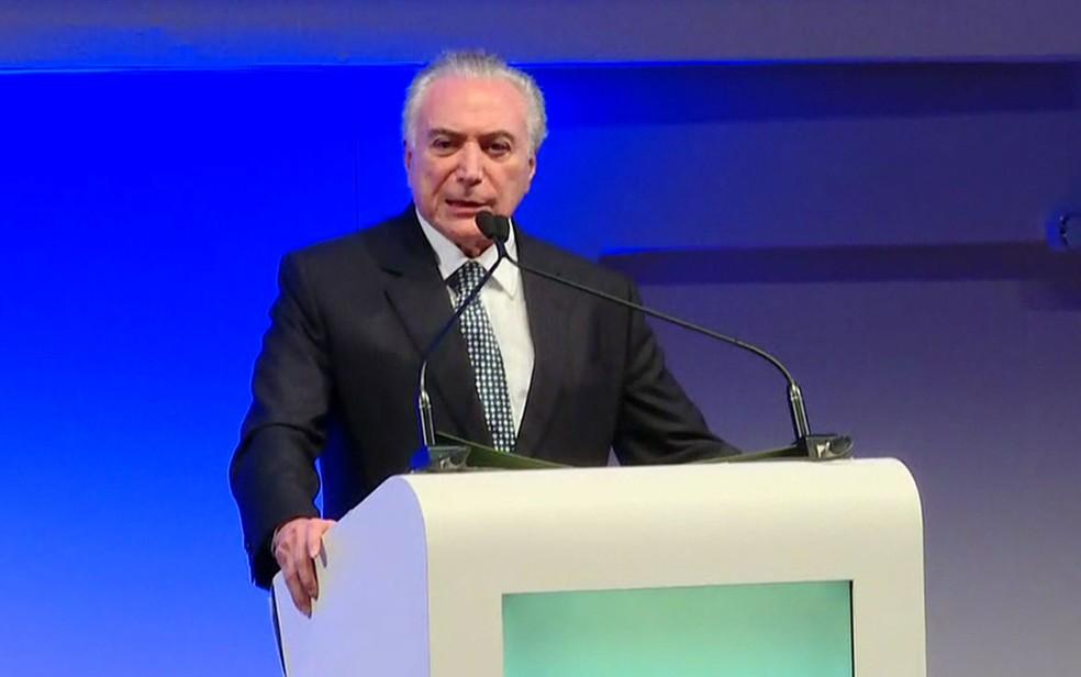 O presidente Michel Temer participa de evento em São Paulo (Foto: GloboNews/Reprodução)