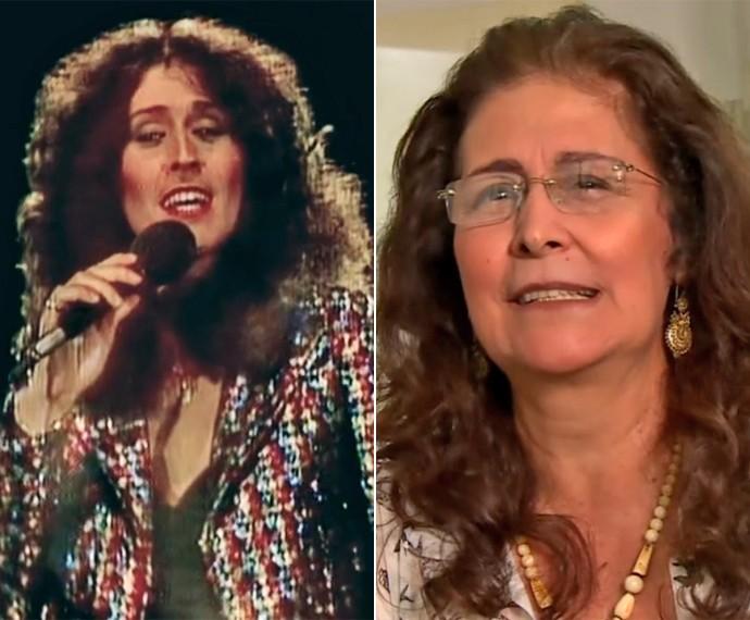 Antes e depois! À esquerda, a cantora Joanna em 1980 no 'Fantástico', e, à direita, no quadro 'Por Onde Anda' (Foto: Vídeo Show / TV Globo)