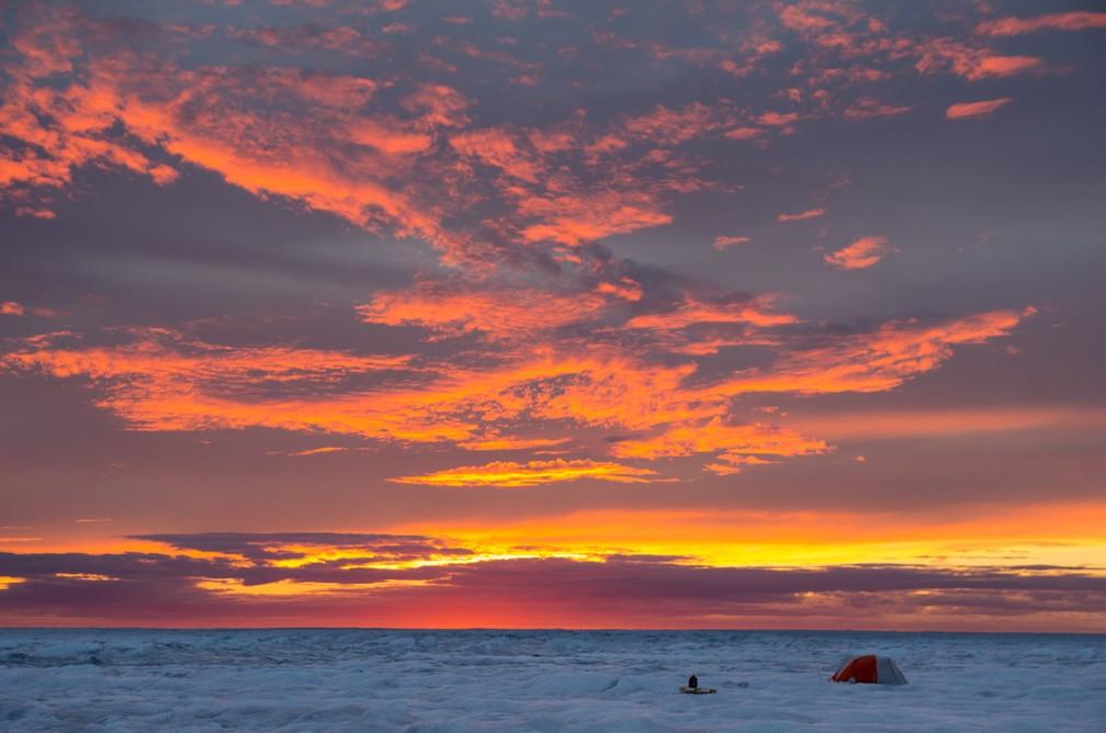 Equipe de Bristol captura a incidência do sol sobre o gelo na Groenlândia (Foto: University of Bristol)