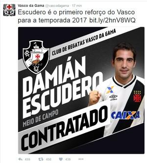 Vasco anuncia Escudero pelo Twitter (Foto: Reprodução Twitter)