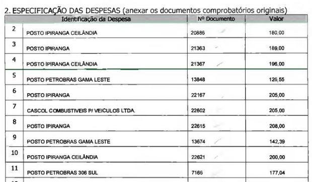 Gastos declarados do distrital Wasny de Roure (PT) com gasolina em fevereiro em março; lista tem 39 faturas (Foto: CLDF/Reprodução)