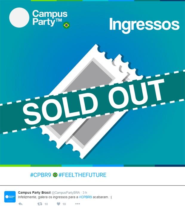Campus Party 2016 tem ingressos esgotados (Foto: Reprodução/Twitter/CampusPartyBRA)