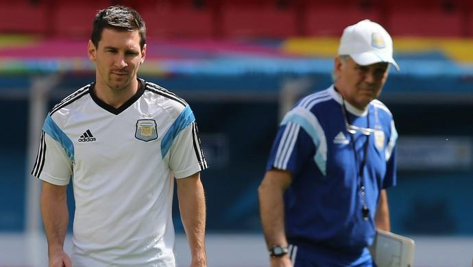 Sabella e Messi, treino Argentina (Foto: EFE)