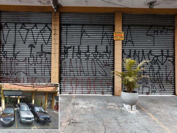 Imóvel com antiga loja de carros dá lugar a placas de imobiliária em São Caetano do Sul, no ABC Paulista (Foto: Marcelo Brandt/G1 e Google Street View)