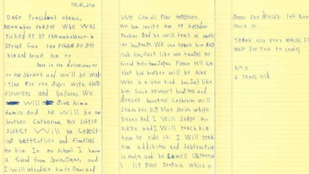 Na carta, menino oferece abrigo a criança síria (Foto: White House)
