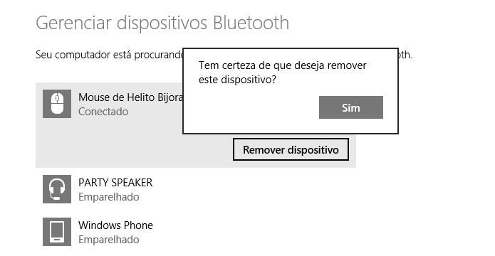 Confirmando remoção do dispositivo (Foto: Reprodução/Helito Bijora)