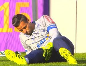 Fábio teve torsão no joelho, na partida contra o Coritiba (Foto: Reprodução/ Premiere FC)