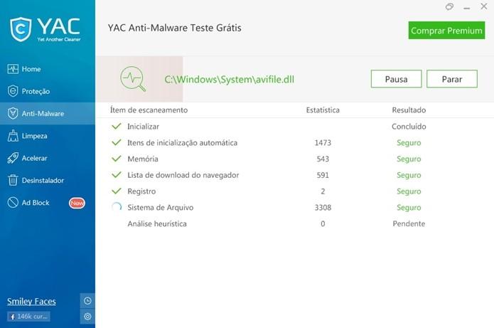 YAC durante processo de escanear malwares (Foto: Reprodução/Raquel Freire)