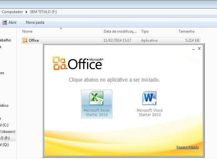 Executando o MS Office Starter Portátil a partir do disco criado (Foto: Reprodução/Edivaldo Brito)