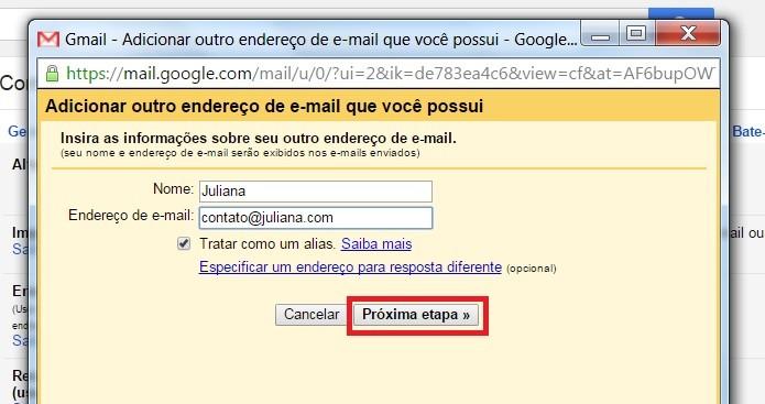"""Coloque o e-mail e clique em """"Próxima etapa"""" (Foto: Reprodução/Juliana Pixinine)"""