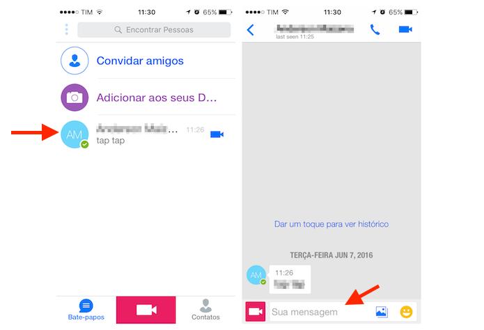 Acessando a ferramenta para envio de mensagens do Imo no iPhone (Foto: Reprodução/Marvin Costa)