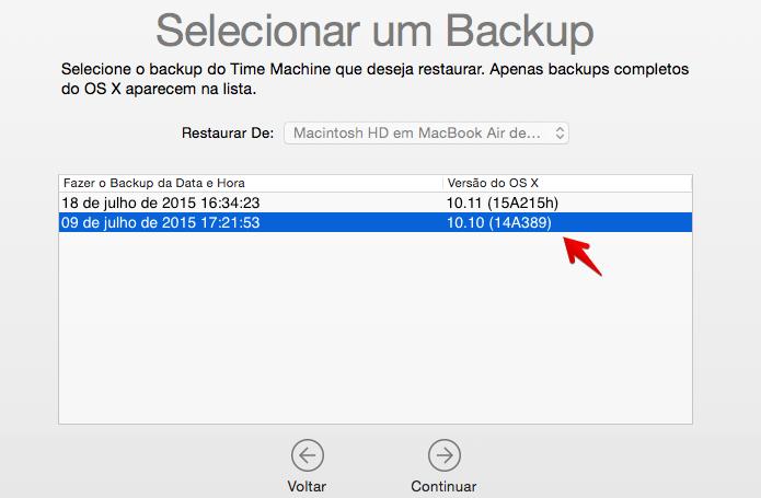Selecione o backup do OS X 10.10 (Foto: Reprodução/Helito Bijora)