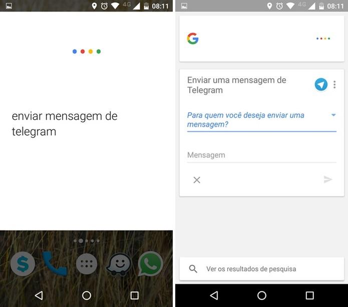 Comando de voz para enviar mensagem pelo Telegram (Foto: Felipe Alencar/TechTudo)
