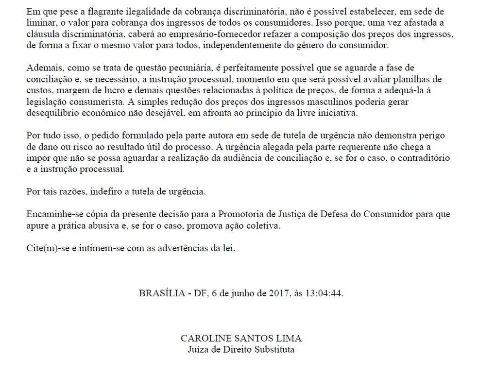 Trecho de decisão da juíza Caroline Lima (Foto: Reprodução)