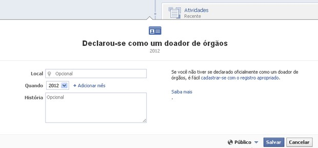 Facebook - Doa&#231;&#227;o de &#243;rg&#227;os (Foto: Reprodu&#231;&#227;o)