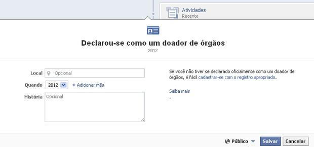Facebook - Doação de órgãos (Foto: Reprodução)