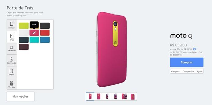 Escolha entre 10 cores para a parte traseira do seu aparelho (Foto: Reprodução/Motorola)