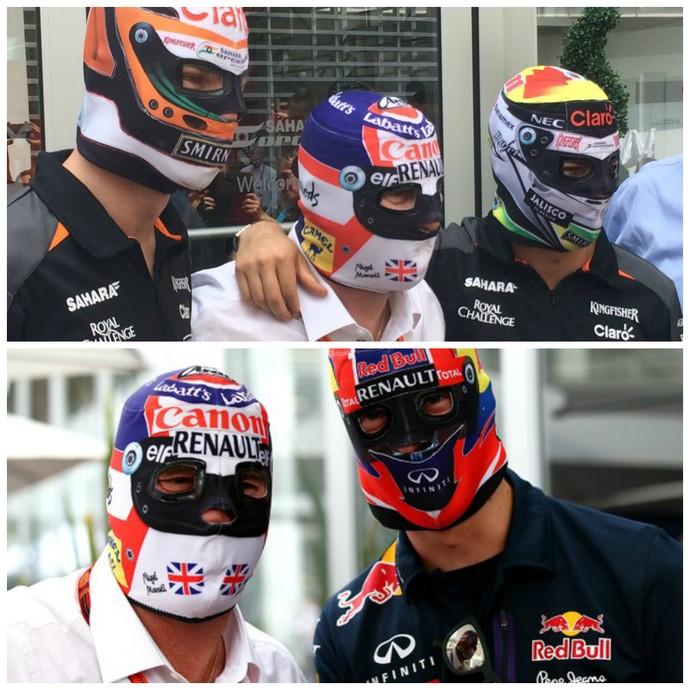 Nigel Mansell (de camisa branca) posou de máscara ao lado dos pilotos da Force India e RBR (Foto: Reprodução/Twitter)