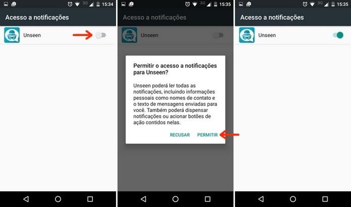 Permissão de acesso às notificações do Android para o Unseen (Foto: Divulgação/Raquel Freire)