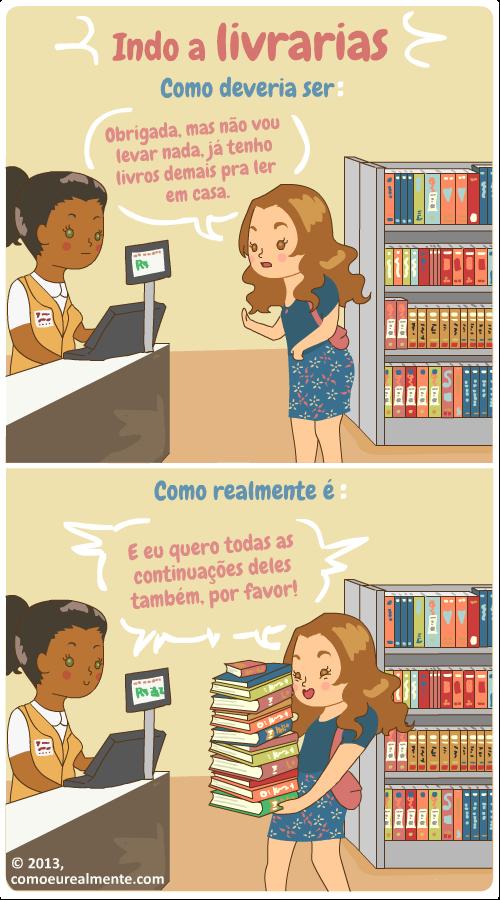 Não existem limites para um leitor voraz - Tirinha produzida pela artista brasileira Fernanda Nia. Clique aqui para conhecer o site dela