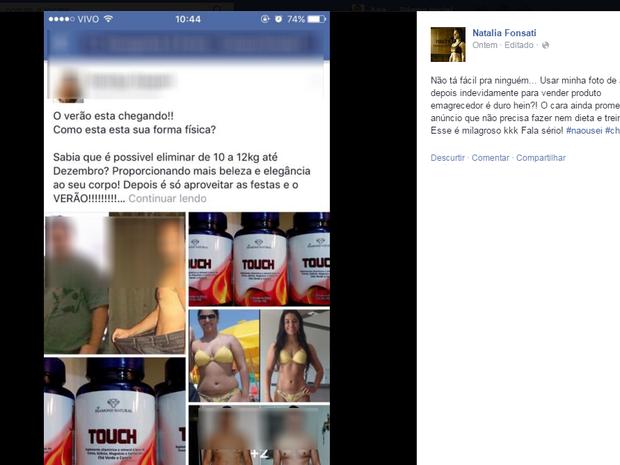 Natália encontrou programada de emagrecedor no Facebook (Foto: Reprodução/ Facebook)